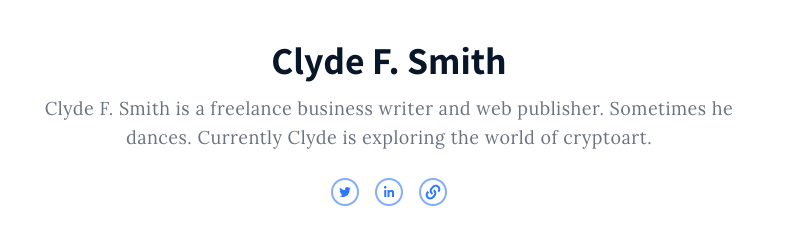 Clyde F Smith Authory Page screenshot